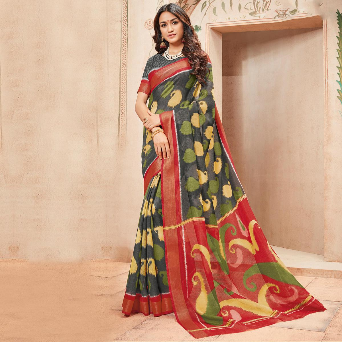 Dark Grey Colored Casual Wear Printed Art Silk Saree