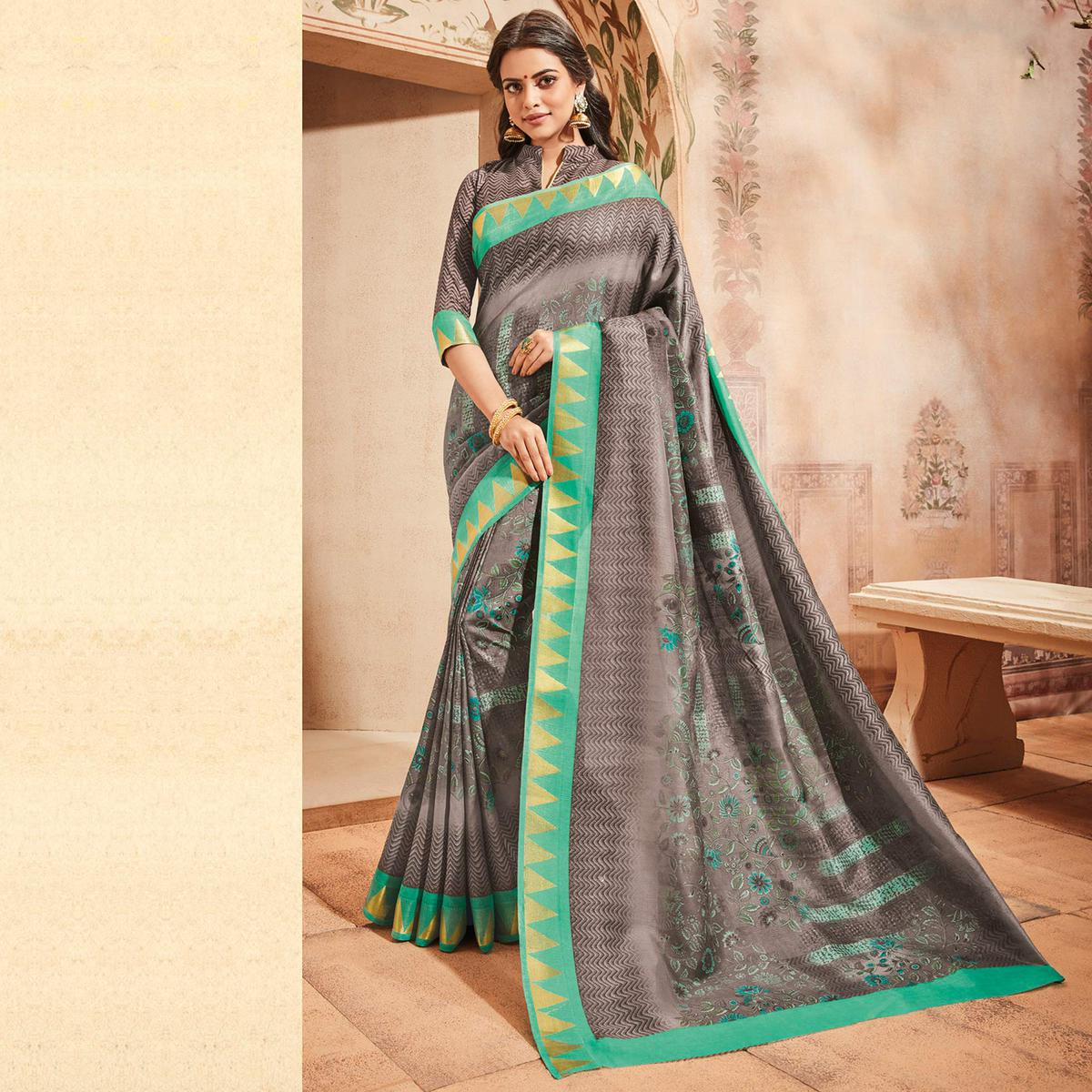 Grey Colored Casual Wear Printed Art Silk Saree