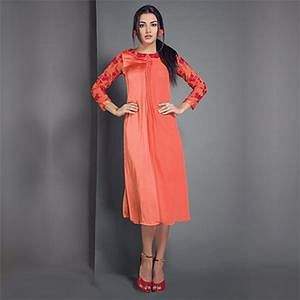 Orange Designer Partywear Embroidered Georgette Kurti
