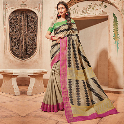Beige Colored Casual Wear Printed Art Silk Saree
