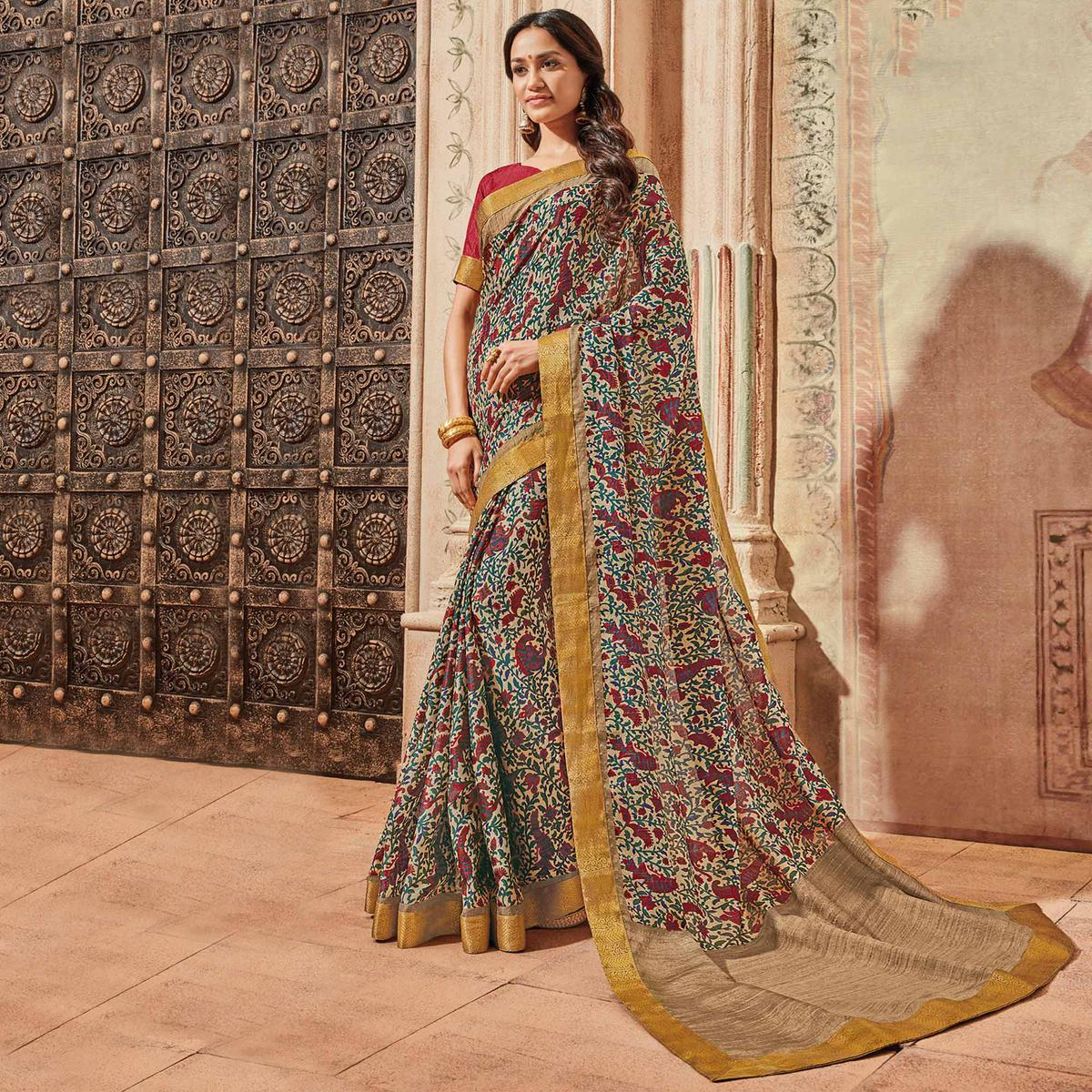 Multi Colored Casual Wear Printed Art Silk Saree