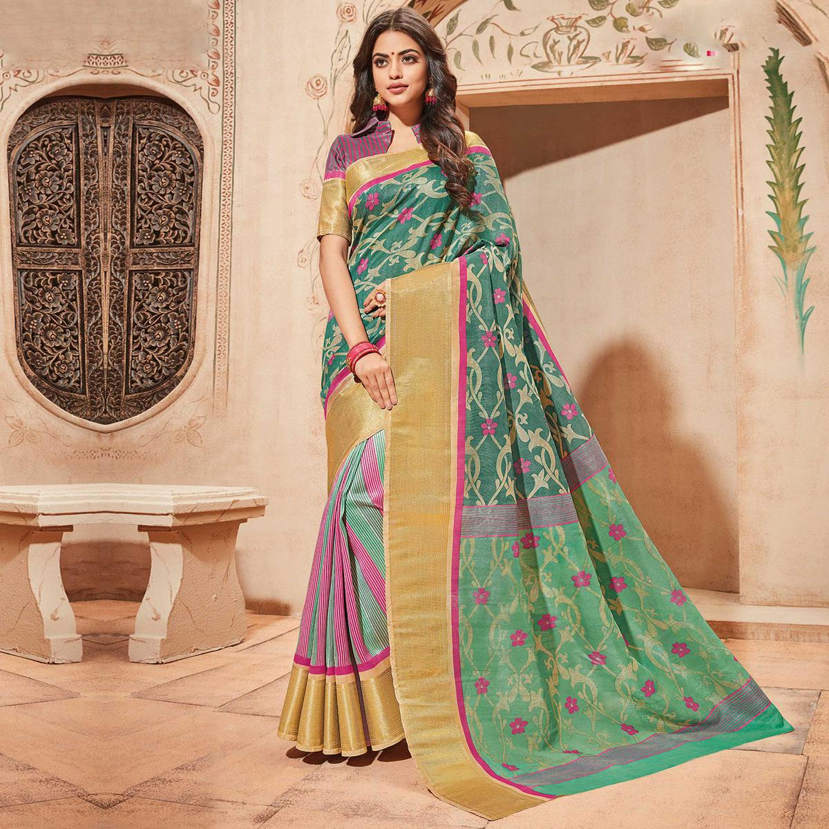 Green Colored Casual Wear Printed Art Silk Saree