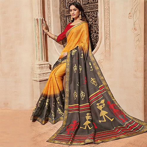Yellow & Dark Grey Colored Casual Wear Printed Art Silk Saree