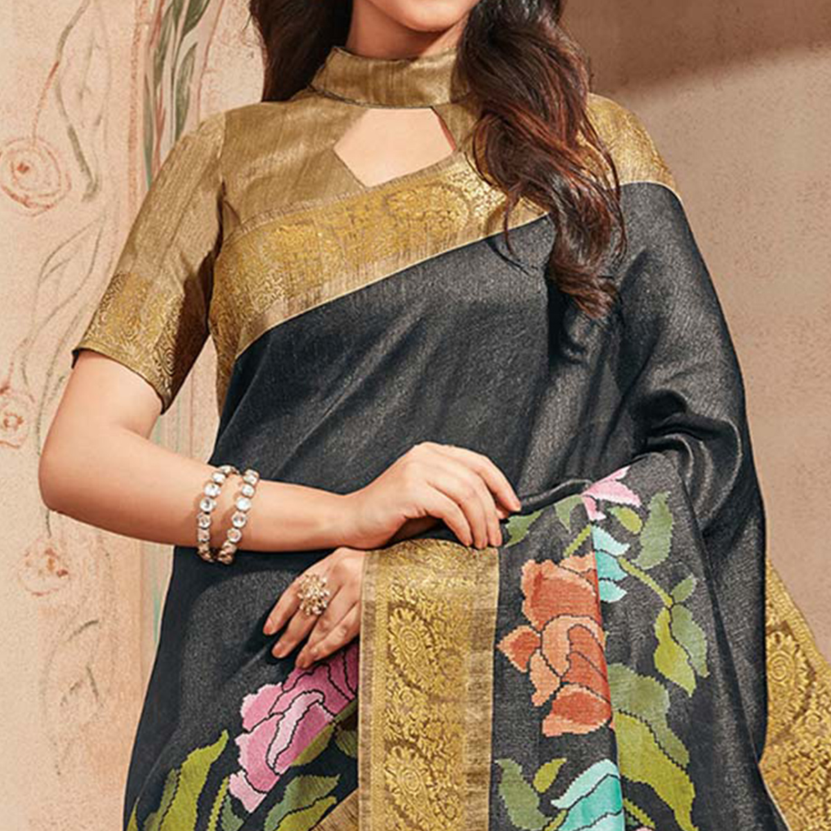 Black Colored Casual Wear Printed Art Silk Saree