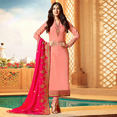 Beautiful Pink Colored Designer Partywear Embroidered Georgette Suit