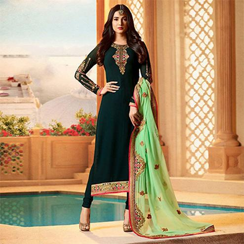 Attractive Dark Green Colored Designer Partywear Embroidered Georgette Suit