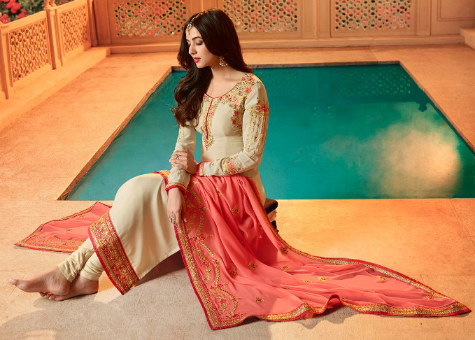 Pleasant Off-White Colored Designer Partywear Embroidered Georgette Suit