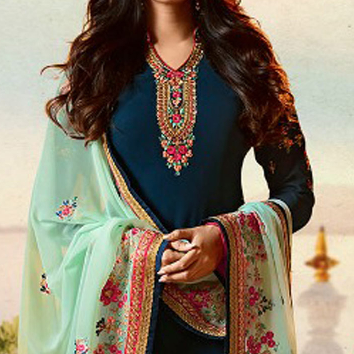 Mesmerising Rama Blue Colored Designer Partywear Embroidered Georgette Suit