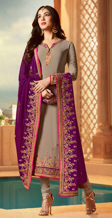Trendy Brown Colored Designer Partywear Embroidered Georgette Suit
