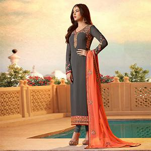 Blooming Gray Colored Designer Partywear Embroidered Georgette Suit