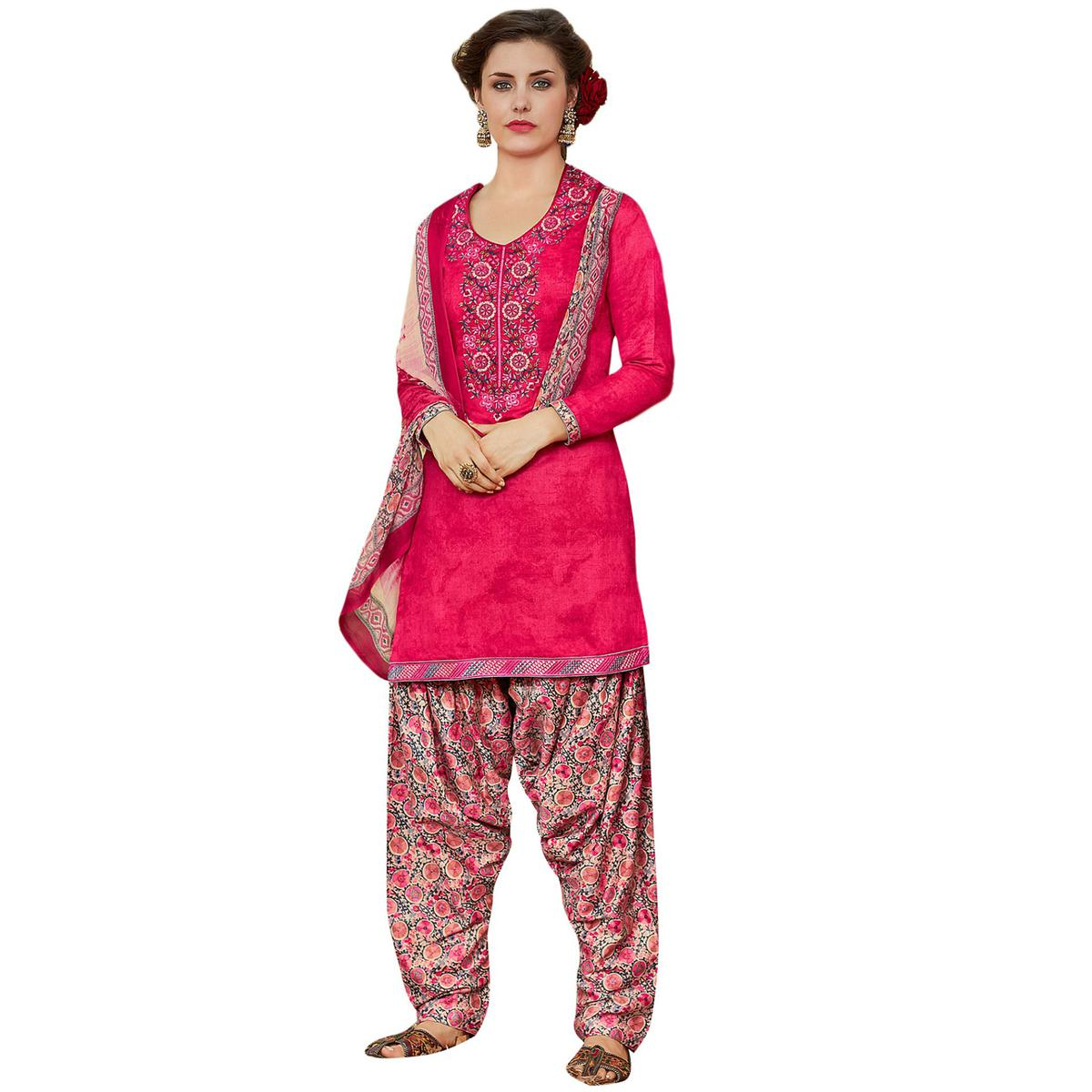 Pleasant Pink Colored Designer Embroidered Cotton Suit