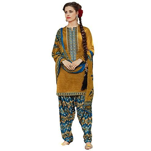 Charming Mustard Colored Designer Embroidered Cotton Suit