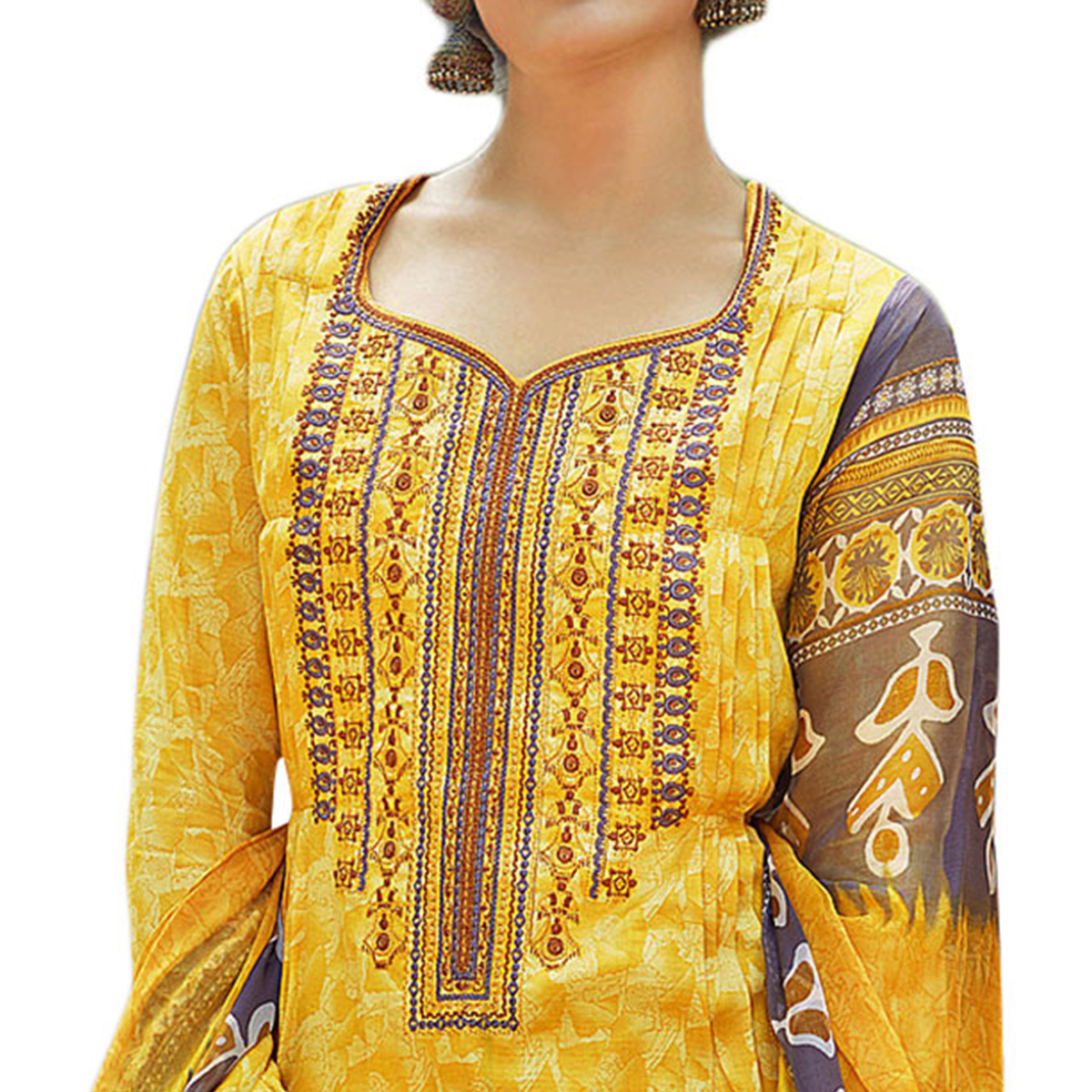 Blooming Yellow Colored Designer Embroidered Cotton Suit