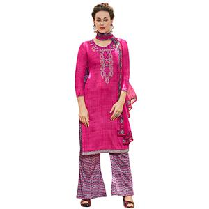 Alluring Pink Colored Designer Embroidered Cotton Suit