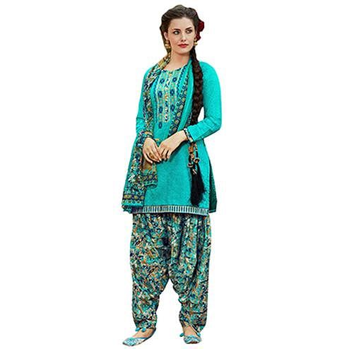 Elegant Light Blue Colored Designer Embroidered Cotton Suit