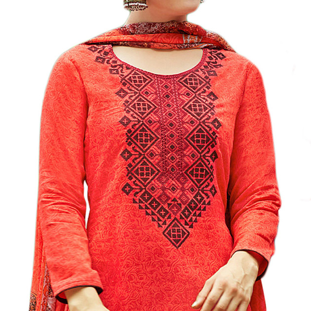Opulent Red Colored Designer Embroidered Cotton Suit