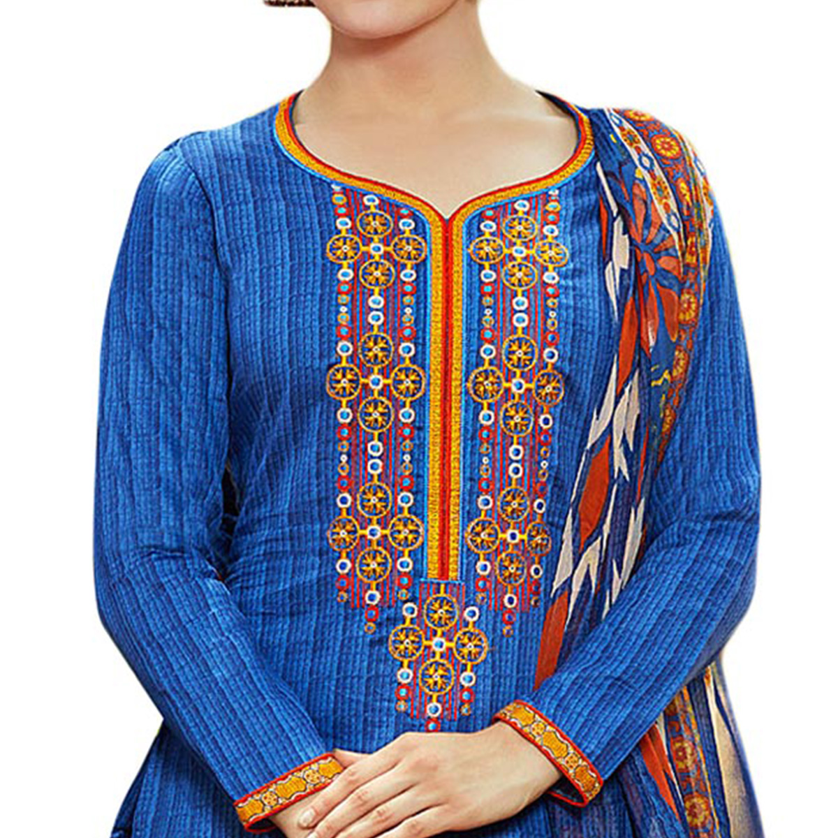 Dazzling Blue Colored Designer Embroidered Cotton Suit