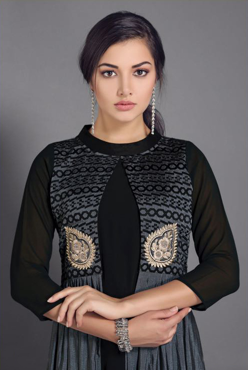 Black-Grey Designer Partywear Embroidered Georgette Kurti