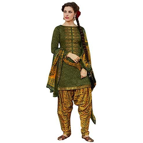 Radiant Green Colored Designer Embroidered Cotton Suit