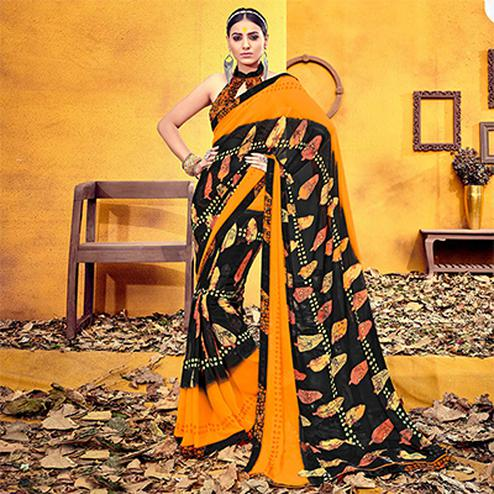 Beautiful Black Colored Casual Printed Georgette Saree
