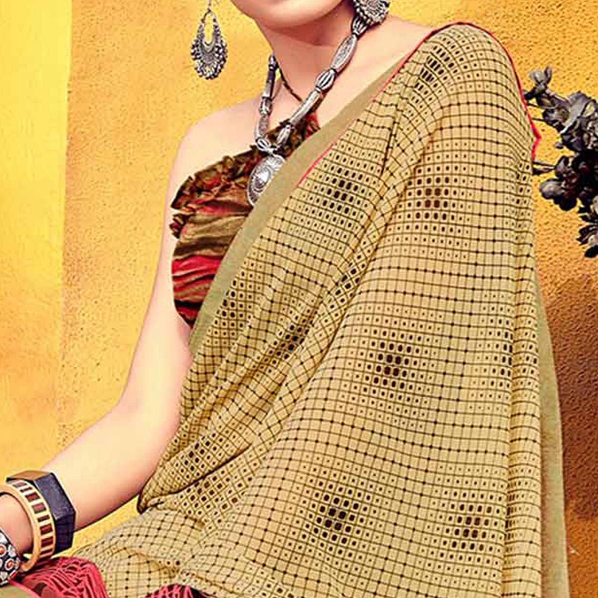 Blooming Beige Colored Casual Printed Georgette Saree