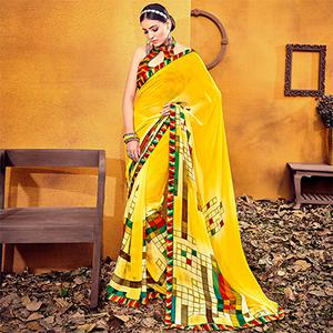 Glowing Yellow Colored Casual Printed Georgette Saree