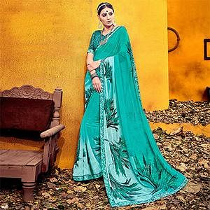 Gorgeous Turquoise Blue Colored Casual Printed Georgette Saree