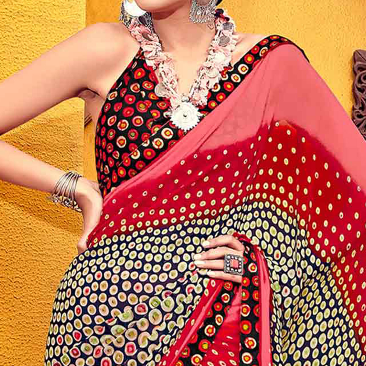 Groovy Multi Colored Casual Printed Georgette Saree