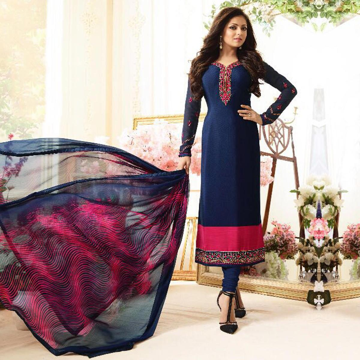 Elegant Blue Designer Embroidered Silk Salwar Suit