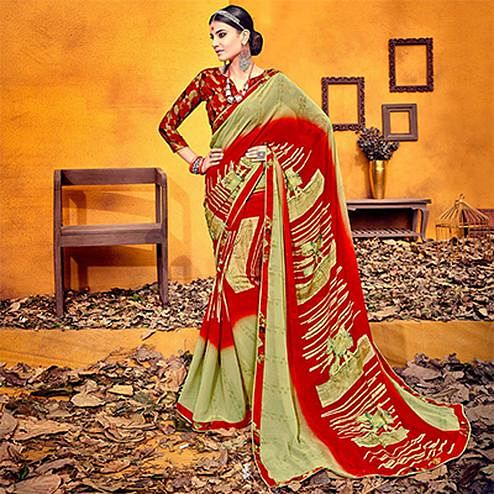 Unique Red-Olive Colored Casual Printed Georgette Saree