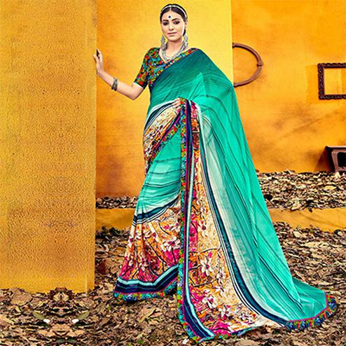 Refreshing Aqua Blue Colored Casual Printed Georgette Saree