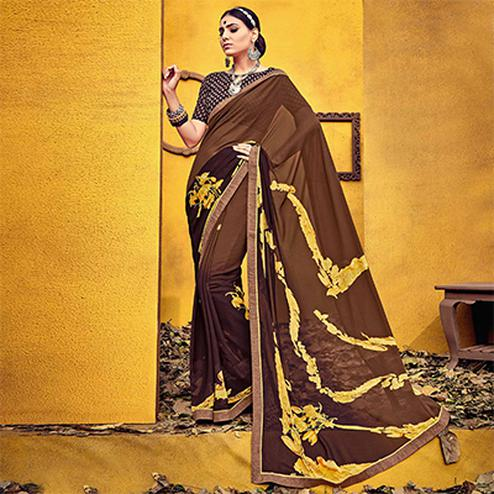 Mystic Brown Colored Casual Printed Georgette Saree