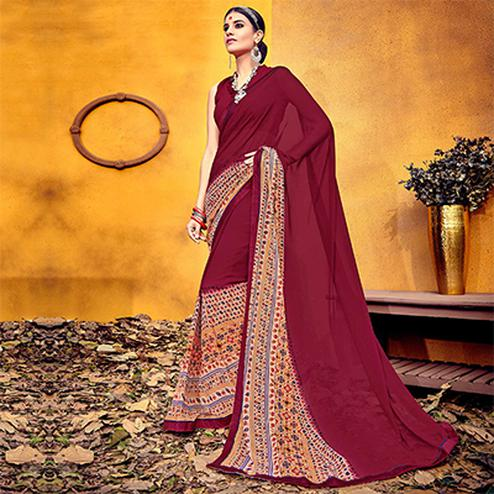 Arresting Wine Colored Casual Printed Georgette Saree