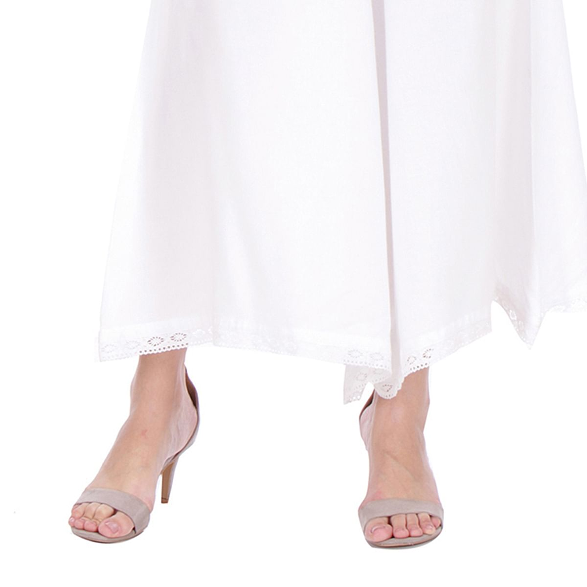 White Casual Wear Cotton Palazzo