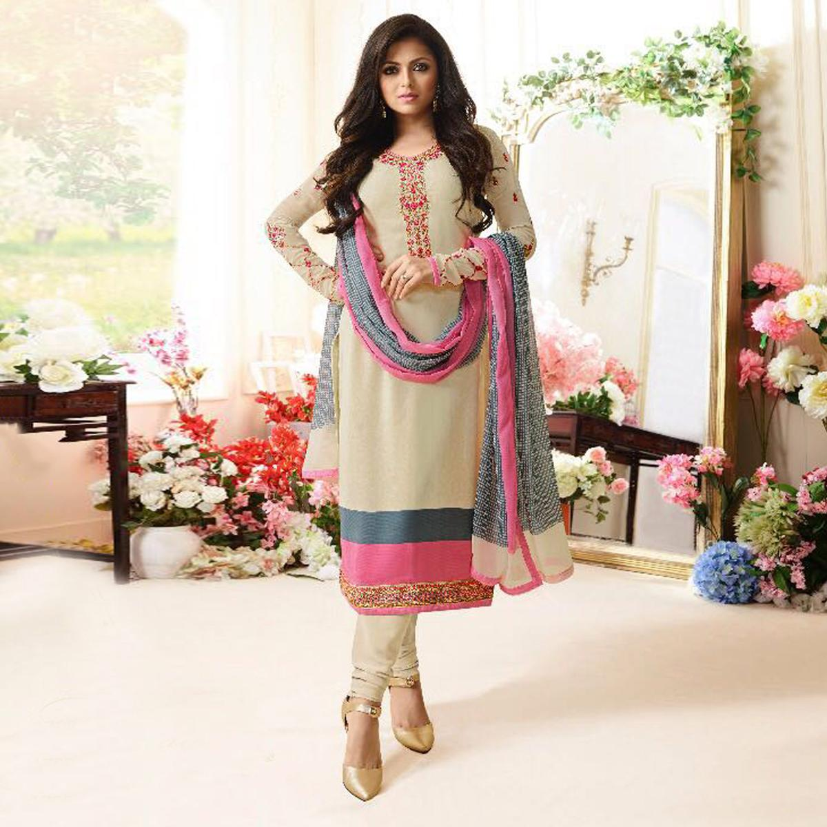 Beautiful Cream Designer Embroidered Silk Salwar Suit