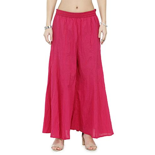 Deep Pink Casual Wear Cotton Palazzo