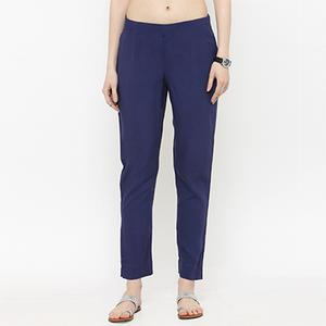 Navy Blue Casual Wear Cotton Pant