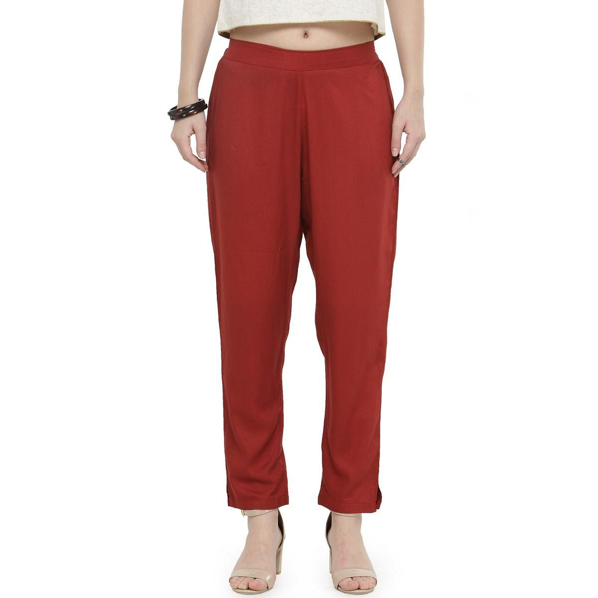 Maroon Casual Wear Cotton Pant