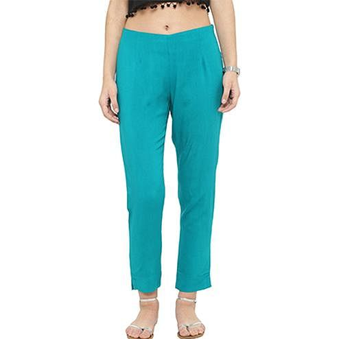 Turquoise Casual Wear Cotton Pant