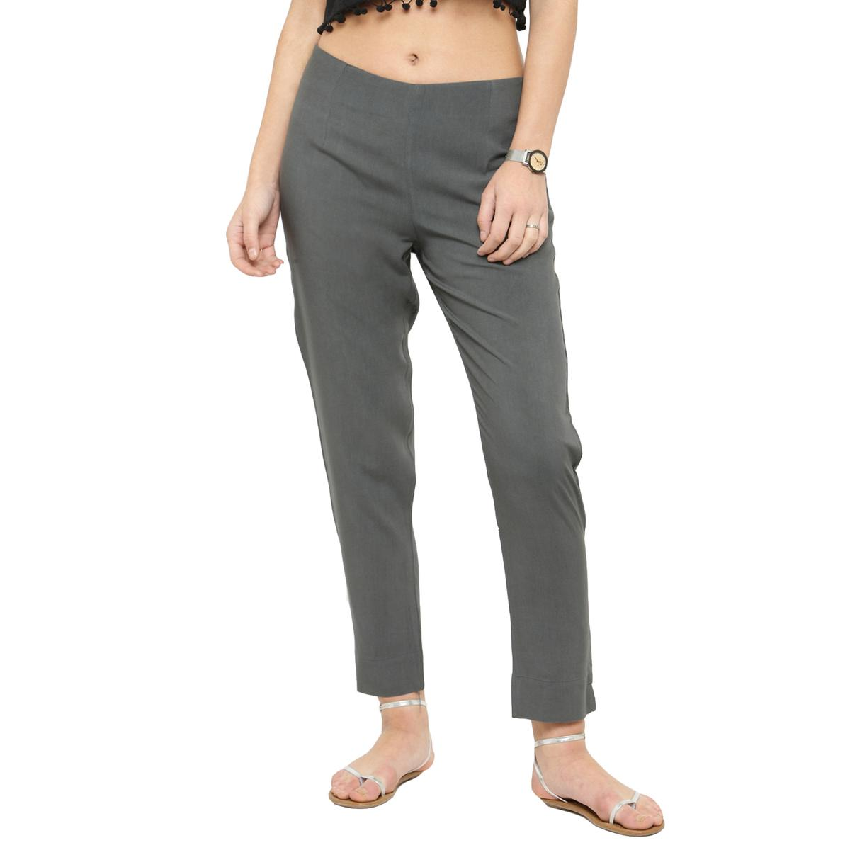 Grey Casual Wear Cotton Pant