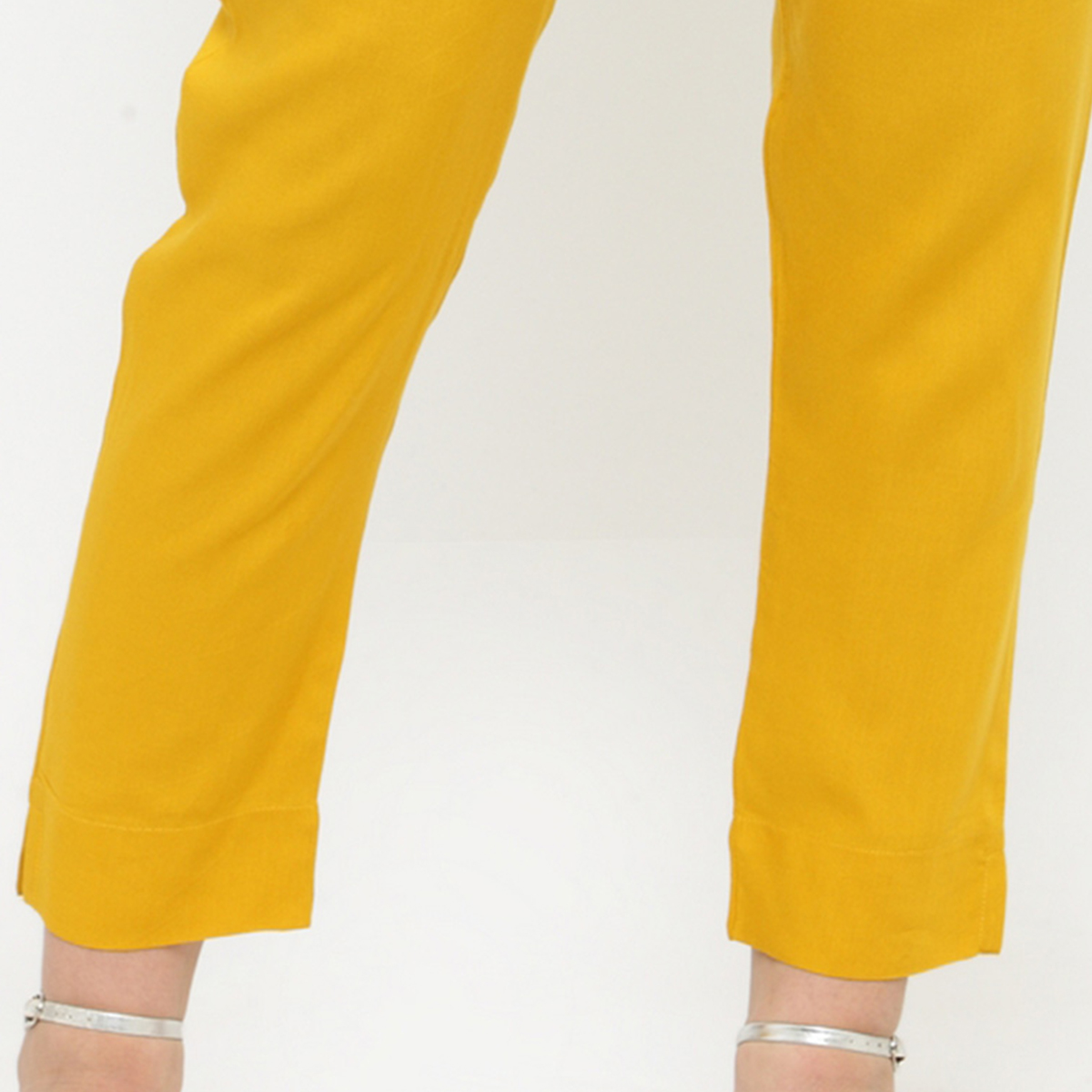 Yellow Casual Wear Cotton Pant