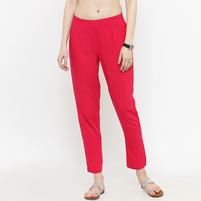 Pink Casual Wear Cotton Pant