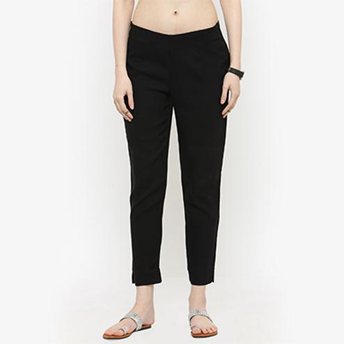 Black Casual Wear Cotton Pant