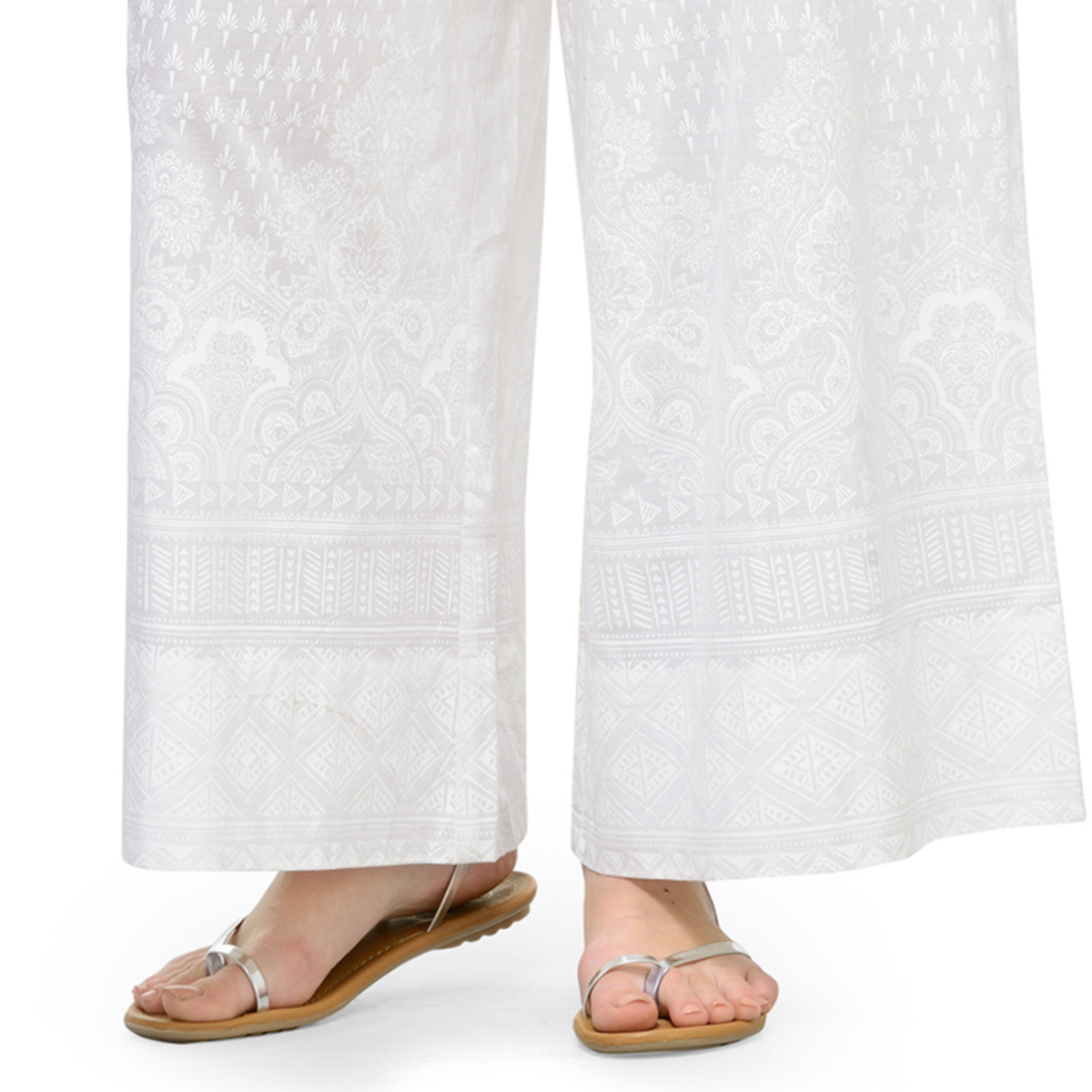 White Casual Wear Printed Cotton Palazzo