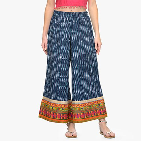 Blue Casual Wear Printed Cotton Palazzo