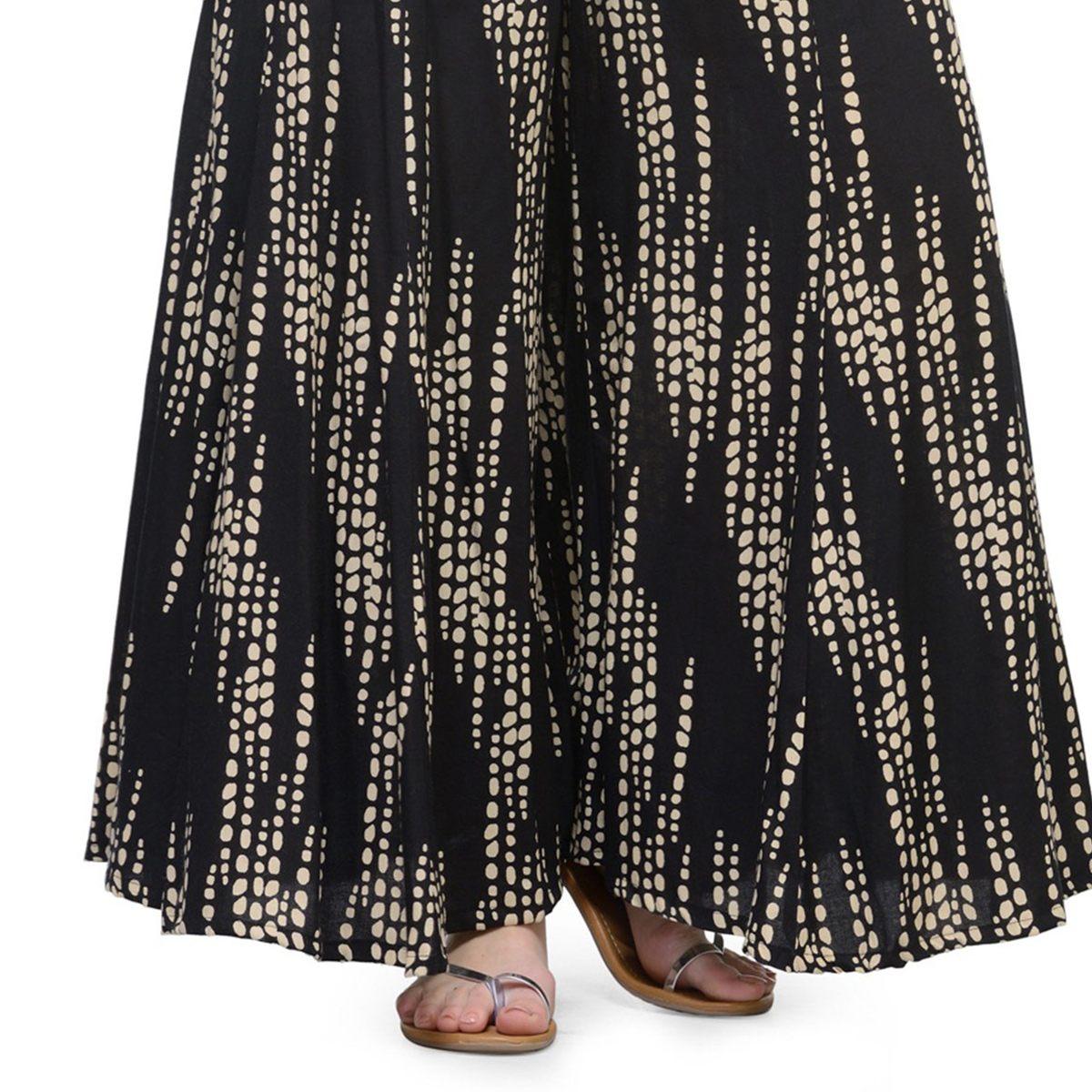 Black Printed Casual Wear Cotton Palazzo