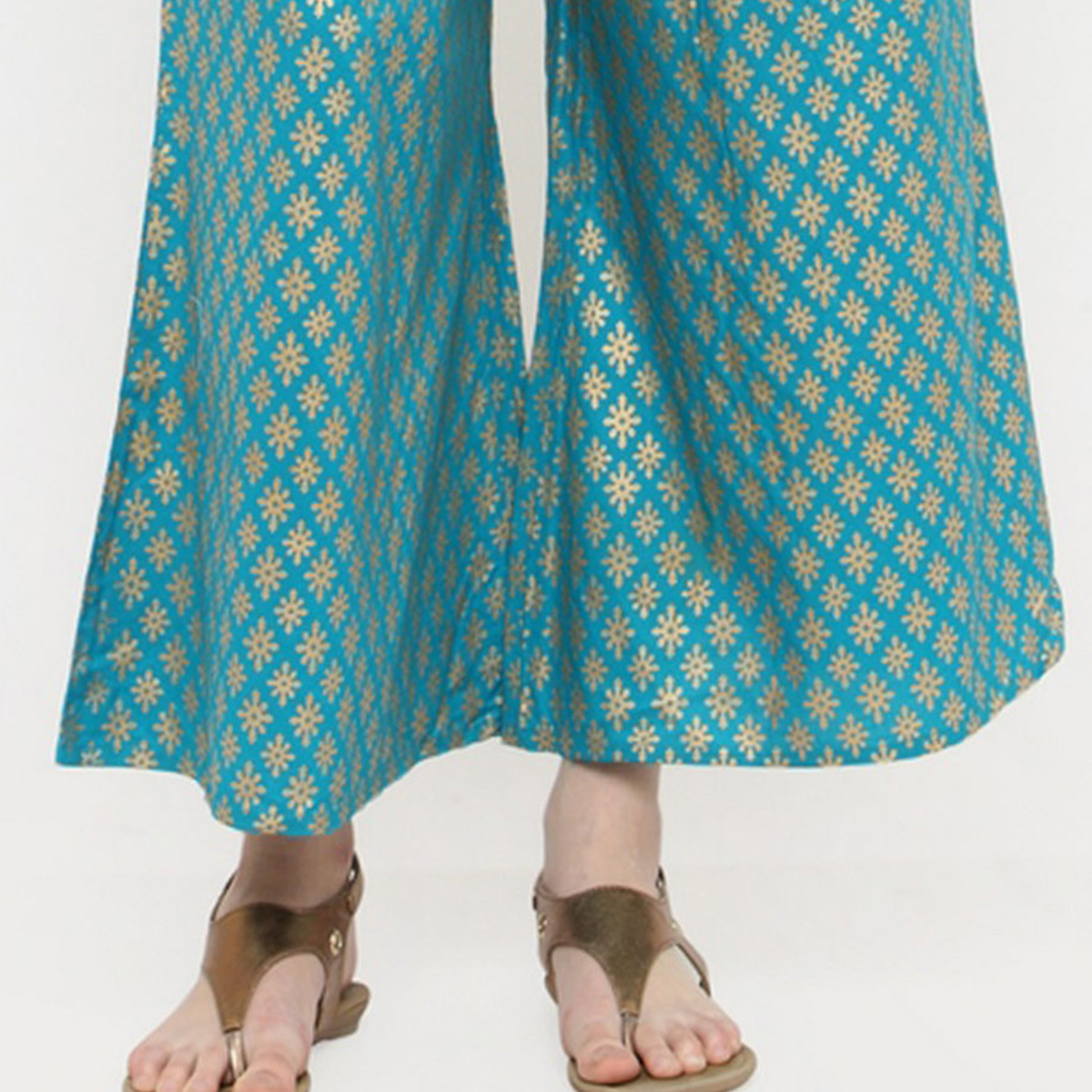 Turquoise Casual Wear Printed Cotton Palazzo