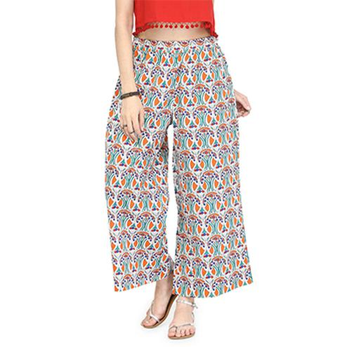 Multicolored Casual Wear Printed Cotton Flex Palazzo
