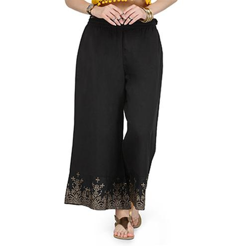 Black Casual Wear Cotton Palazzo