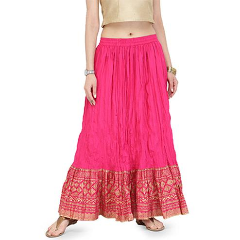 Pink Casual Wear Cotton Skirt